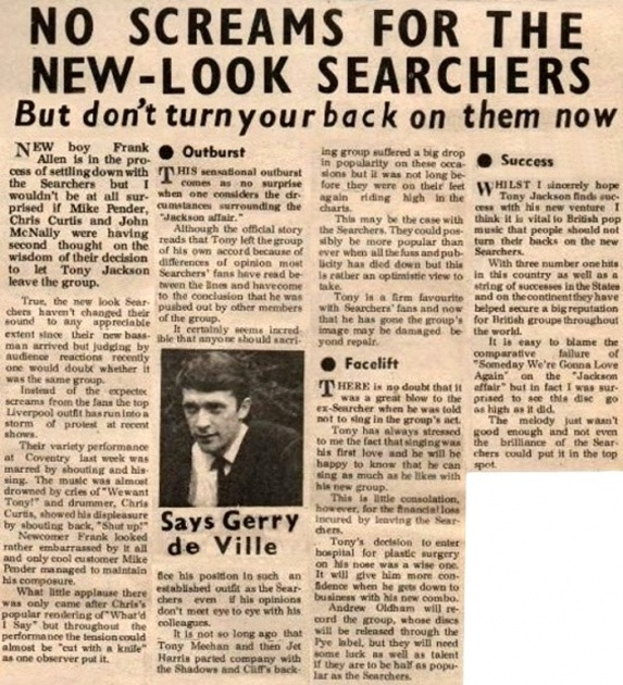 'No screams for new-look Searchers' - after Tony Jackson left in 1964!